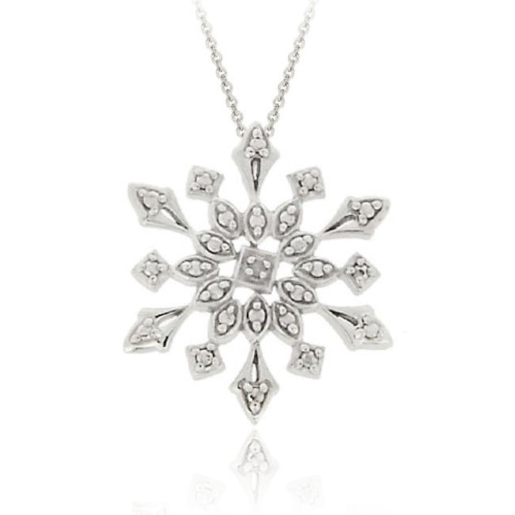 Sterling Silver Genuine Diamond Accent Snowflake Pendant