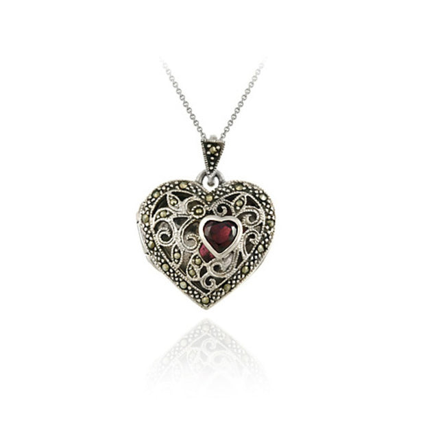 Sterling Silver Marcasite and Garnet Filigree Heart Locket Pendant