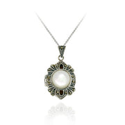 Sterling Silver Mother of Pearl and Marcasite Locket Pendant