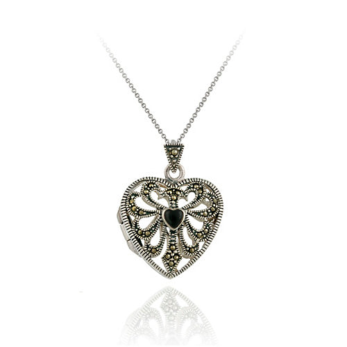 Sterling Silver Marcasite & Onyx Filigree Heart Locket Pendant