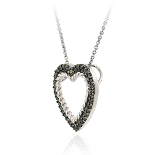Sterling Silver 2/5ct Champagne Diamond Open Heart Pendant