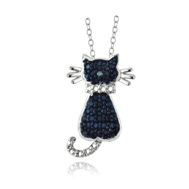 Sterling Silver Blue Diamond Accent Cat Slide Pendant