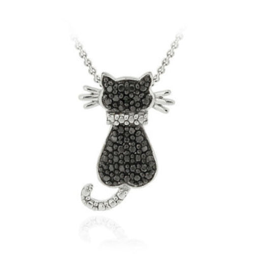 Sterling Silver Black Diamond Accent Cat Slide Pendant