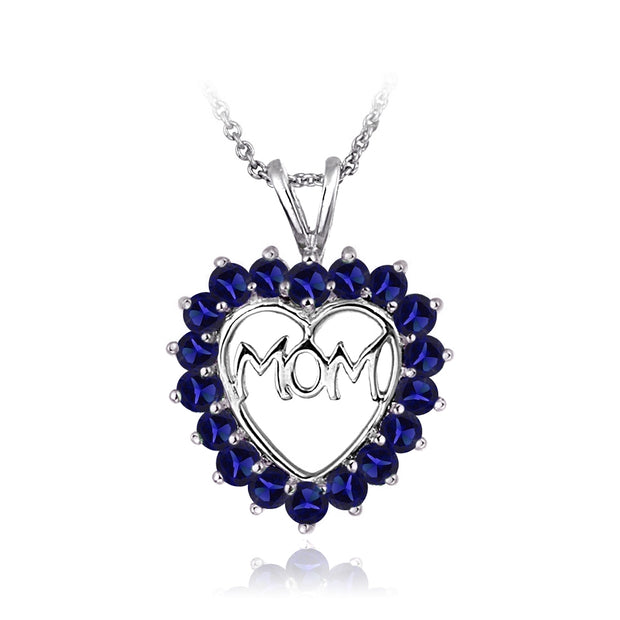 Sterling Silver Created Blue Sapphire MOM Heart Pendant Necklace