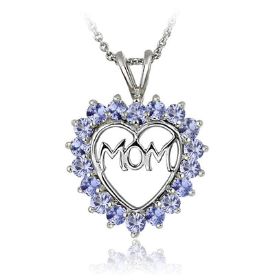 Sterling Silver Tanzanite MOM Heart Pendant Necklace