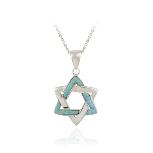 Sterling Silver Blue Opal Star of David Pendant Necklace