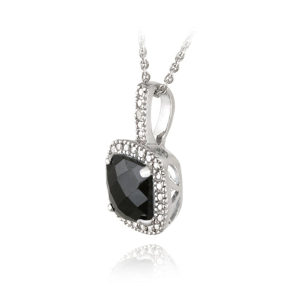 Sterling Silver 2.75ct Black Spinel & Diamond Accent Square Pendant