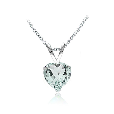 Sterling Silver Aquamarine 7mm Heart Solitaire Necklace