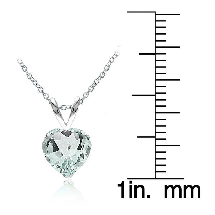 Sterling Silver Natural Aquamarine 7mm Heart Solitaire Necklace