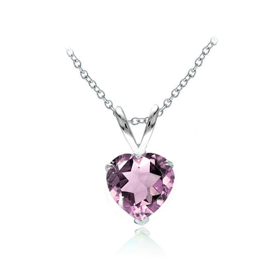 Sterling Silver Simulated Alexandrite 7mm Heart Solitaire Necklace