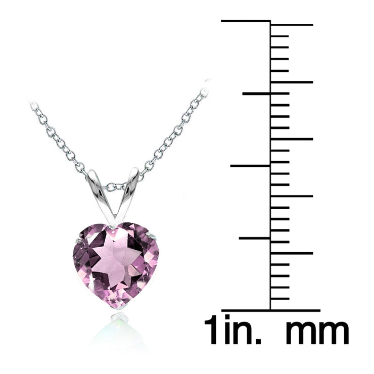 Sterling Silver Created Alexandrite 7mm Heart Solitaire Necklace