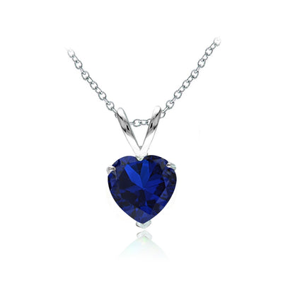 Sterling Silver Created Blue Sapphire 7mm Heart Solitaire Necklace