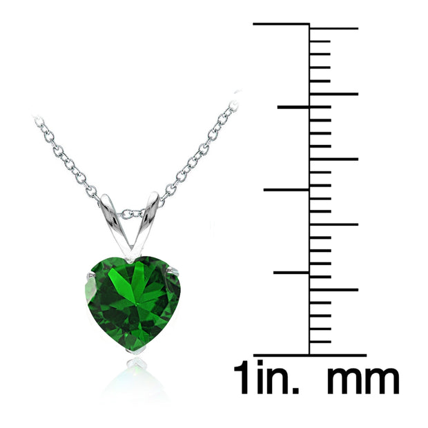 Sterling Silver Created Emerald 7mm Heart Solitaire Necklace