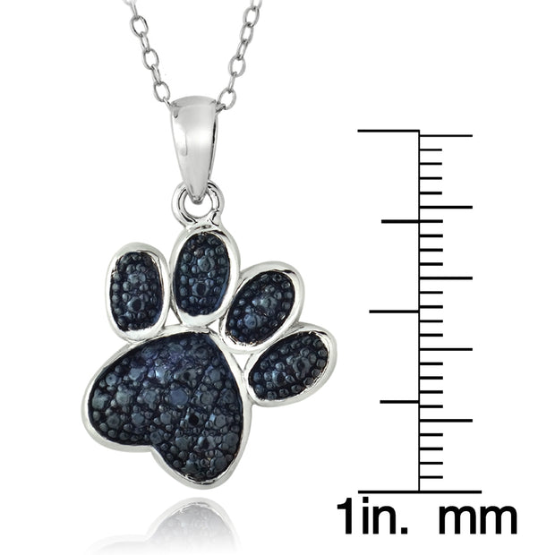 Sterling Silver Blue Diamond Accent Paw Print Pendant