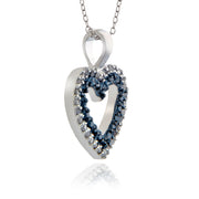 Sterling Silver 1/2ct TDW Blue and White Diamond Heart Necklace (I2-I3)