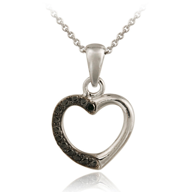 Sterling Silver Black Diamond Accent Open Heart Pendant
