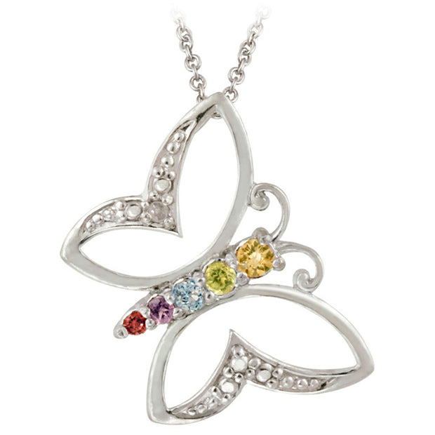 Sterling Silver Multi Gemstone & Diamond Accent Open Butterfly Pendant