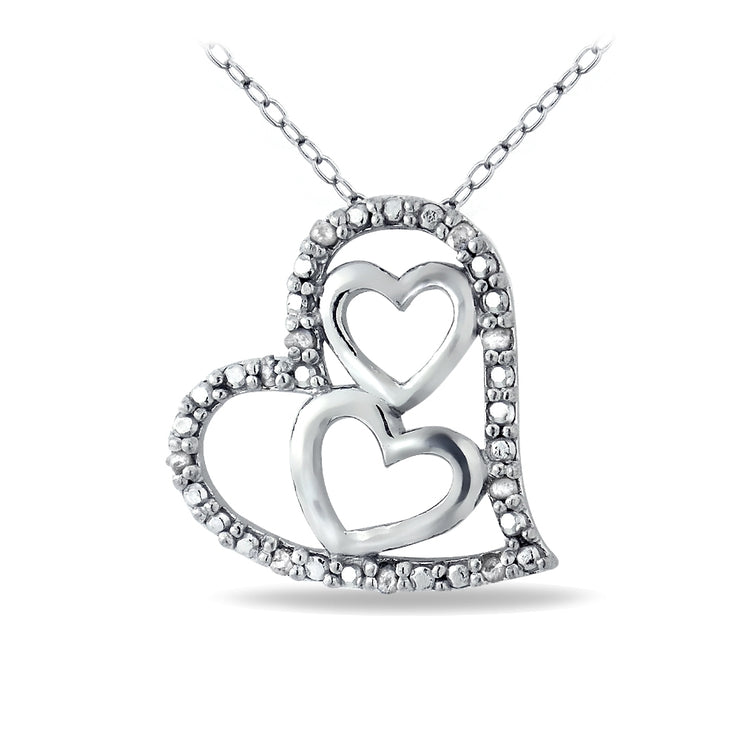 Sterling Silver 1/10 ct Diamond Triple Heart Necklace