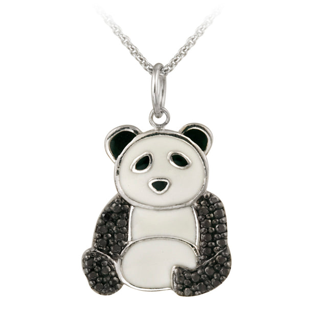 Sterling Silver Black Diamond Accent Enamel Panda Bear Pendant