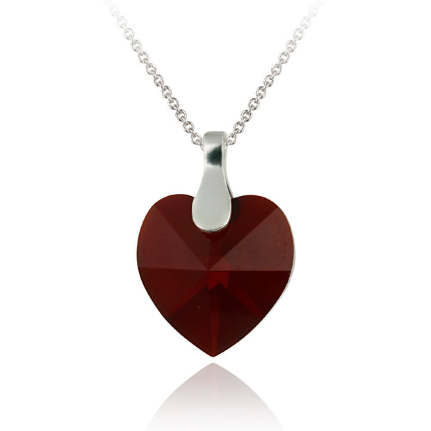 Sterling Silver Ruby Red Red Swarovski Elements Heart Necklace
