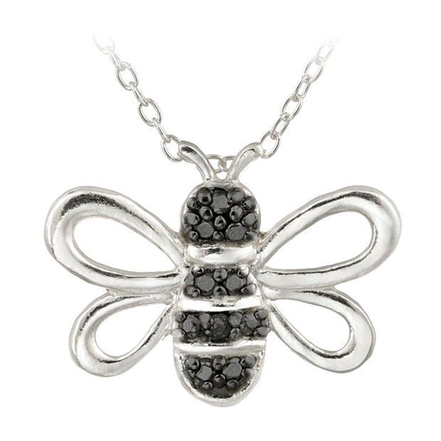 Sterling Silver Black Diamond Accent Bumble Bee Pendant