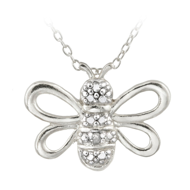 Sterling Silver Diamond Accent Bumble Bee Pendant