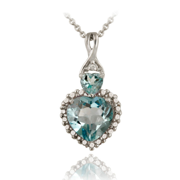 Sterling Silver Blue Topaz & Diamond Accent Heart Pendant
