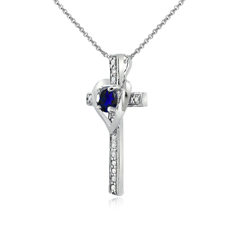 Sterling Silver Created Blue Sapphire Cross Heart Pendant Necklace for Girls, Teens or Women