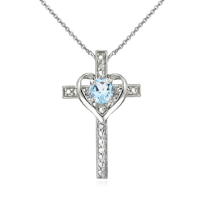 Sterling Silver Blue Topaz Cross Heart Pendant Necklace for Girls, Teens or Women