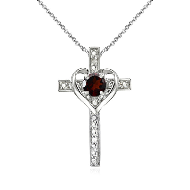 Sterling Silver Garnet Cross Heart Pendant Necklace for Girls, Teens or Women