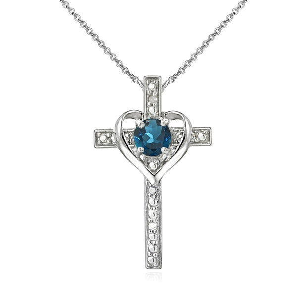 Sterling Silver London Blue Topaz Cross Heart Pendant Necklace for Girls, Teens or Women