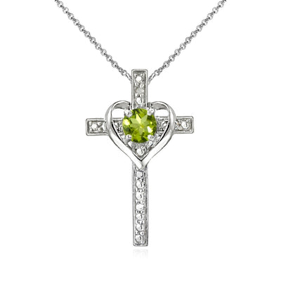 Sterling Silver Peridot Cross Heart Pendant Necklace for Girls, Teens or Women