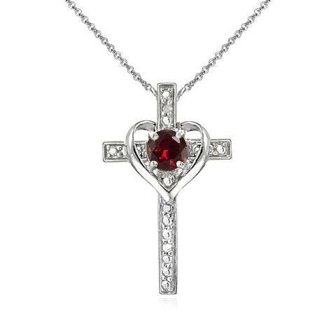 Sterling Silver Created Ruby Cross Heart Pendant Necklace for Girls, Teens or Women