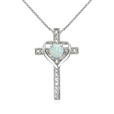 Sterling Silver Simulated White Opal Cross Heart Pendant Necklace for Girls, Teens or Women