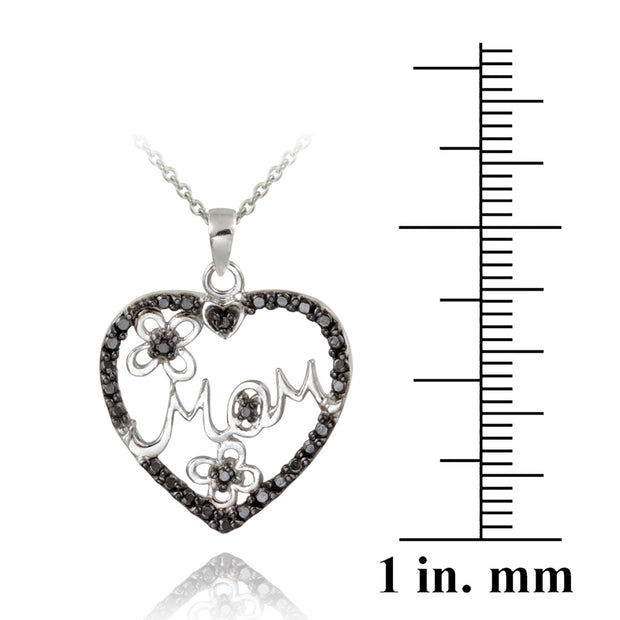 Sterling Silver Black Diamond Accent Mom Heart Pendant, 18""
