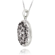 Sterling Silver Black Diamond Accent Filigree Oval Locket Necklace