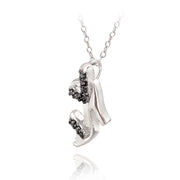 Sterling Silver Black Diamond Accent High Heel Shoe Necklace