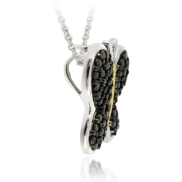 Sterling Silver Two Tone Black Diamond Accent Butterfly Necklace