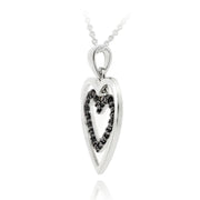 Sterling Silver .10ct Black Diamond Double Hearts Necklace