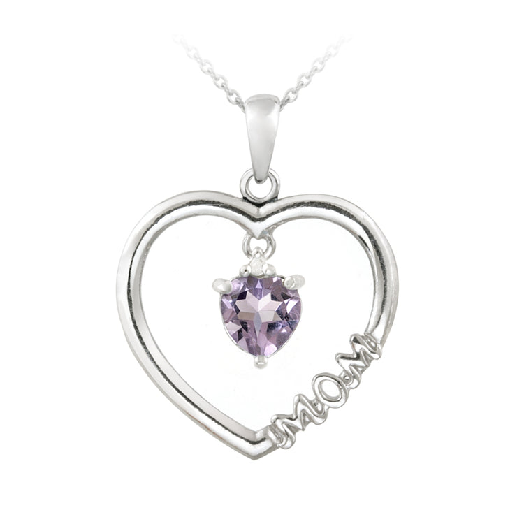 "Sterling Silver Dangling Amethyst & Diamond Accent ""Mom"" Open Heart Necklace"