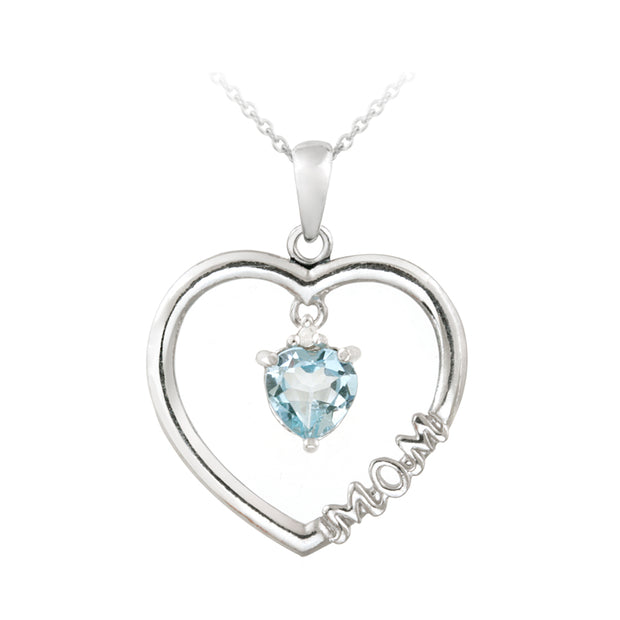 "Sterling Silver Dangling Blue Topaz & Diamond Accent ""Mom"" Open Heart Necklace"
