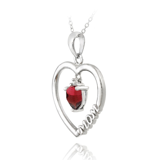 "Sterling Silver Dangling Garnet & Diamond Accent ""Mom"" Open Heart Necklace"