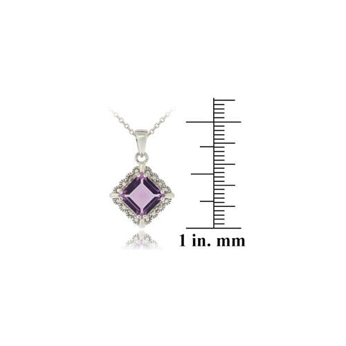 Sterling Silver 2.35ct Amethyst & Diamond Accent Diamond Shape Necklace
