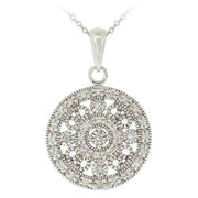 Sterling Silver CZ Filigree Medallion Necklace
