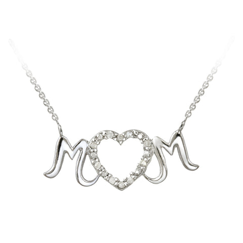 Sterling Silver .10ct Diamond MOM Heart Necklace