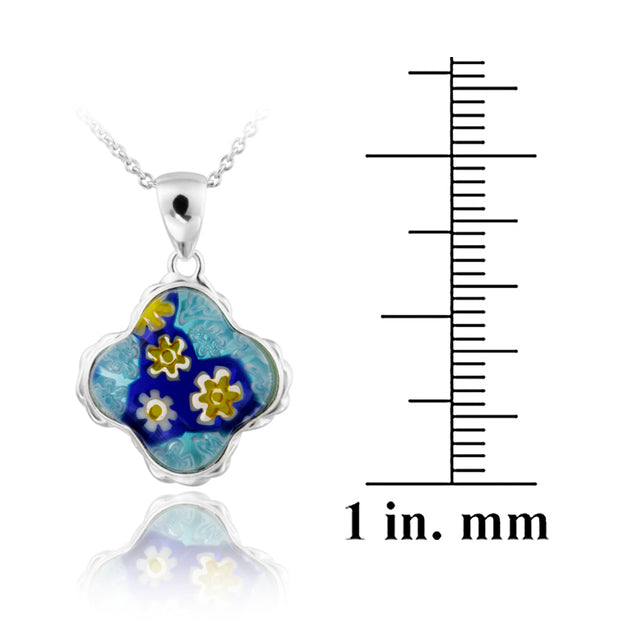 Sterling Silver Blue Millefoiri Glass Clover Necklace