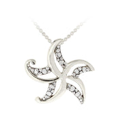 Sterling Silver Diamond Accent Starfish Necklace