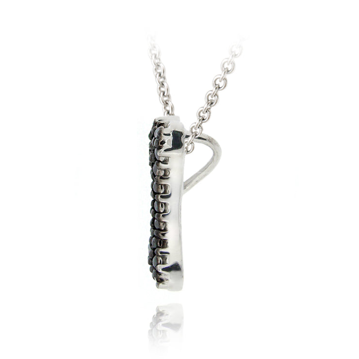 Sterling Silver Black Diamond Accent Dog Bone Slide Necklace