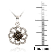 Sterling Silver 1/6ct Champagne Diamonds & White Topaz Swirl Flower Necklace