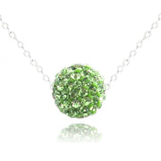 Sterling Silver 10mm Peridot Crystal Fireball Necklace